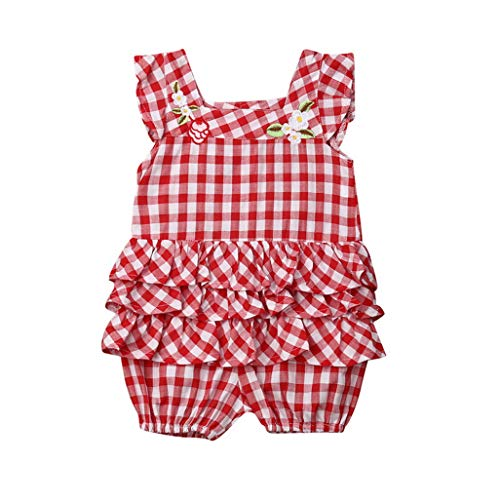 Cute Newborn Kids Baby Girls Plaids Rose Flower Romper Jumpsuit Checked Ruffle Playsuit Outfits Sleeveless(12M,Red)