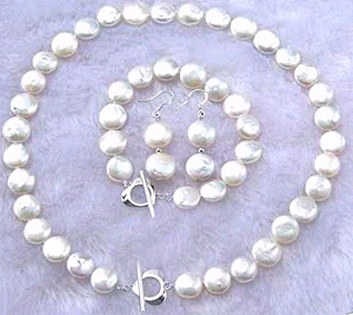 Genuine Natural 12-14mm White Coin Pearl Necklace Bracelet Earring Jewelry ()