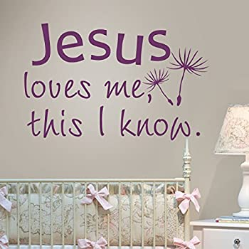 Nursery Wall Decal Religious Wall Quote Baby Nursery Decal Home Art Decor    Jesus Loves Me