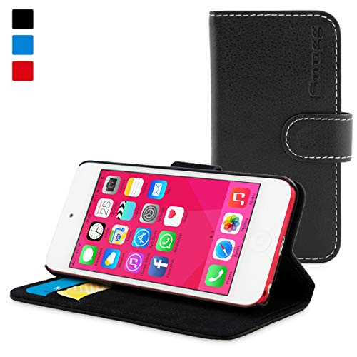 iPod Touch Case 5 / 6 / 7 Gen, Snugg Black Leather Flip Case [Card Slots] Executive Apple iPod Touch Wallet Case Cover and Stand - Legacy Series 5th / 6th / 7th Generation