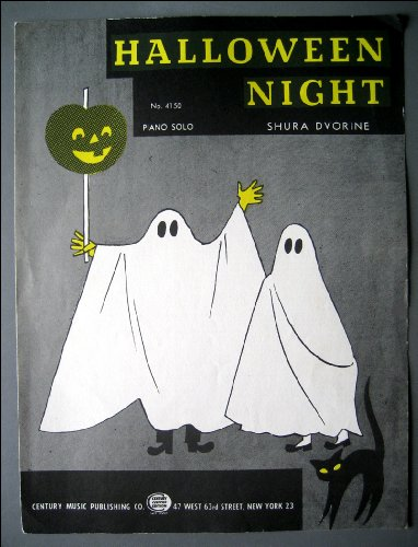 Halloween Night 1954 Piano Sheet Music with Vintage Ghost Graphic~! -