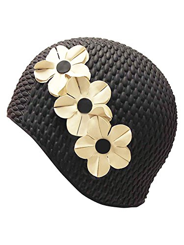 (Luxury Divas Black & White Latex Swim Cap With Flowers)