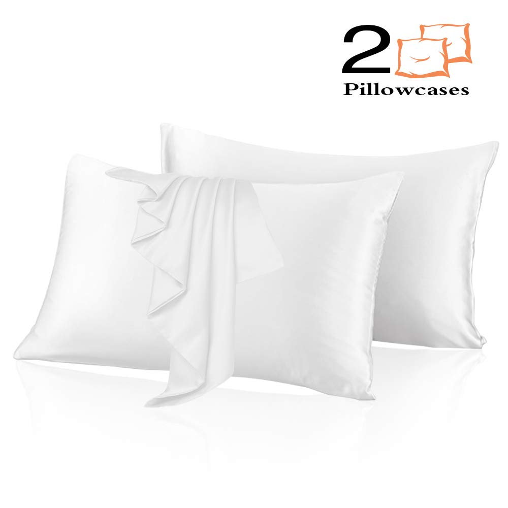 Lilac Purple, Standard: 20x26 Leccod 2 Pack Silk Satin Pillowcase for Hair and Skin Cool Super Soft and Luxury Pillow Cases Covers with Envelope Closure