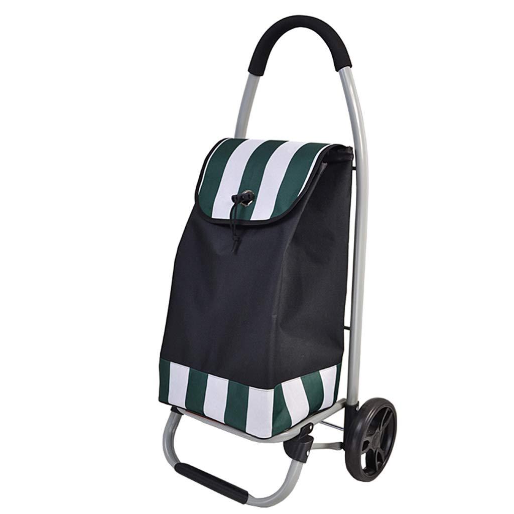 SZQ ショッピングカートを押すことができますトロリー折り畳み式トロリーワイドフラットスチールトロリーサイズ90 * 45 * 33CM 利便性 (色 : Green, サイズ さいず : 90*45*33CM) B07K5DX893 Green 90*45*33CM