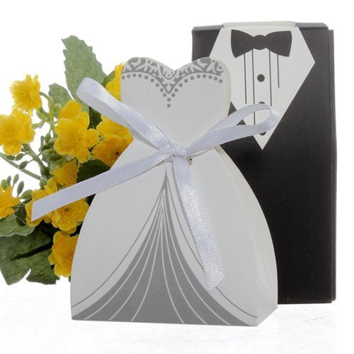 cnomg 100pcs Party Wedding Favor Dress & Tuxedo Bride and Wh