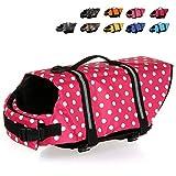 HAOCOO Dog Life Jacket Vest Saver Safety Swimsuit Preserver with Reflective Stripes/Adjustable Belt Dogs?Pink Polka Dot,XL