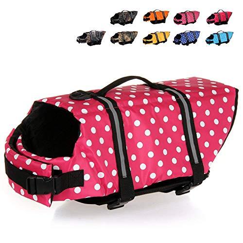 (HAOCOO Dog Life Jacket Vest Saver Safety Swimsuit Preserver with Reflective Stripes/Adjustable Belt Dogs?Pink Polka Dot,S)