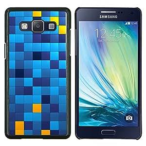 EJOOY---Cubierta de la caja de protección para la piel dura ** Samsung Galaxy A5 A5000 ** --Patrón cuadrados Chechkered Azul Amarillo