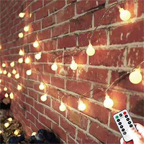 AMARS 33ft Battery Powered Globe String Lights with Remote Timer Room Hanging Bedroom Tapestry Decoration Fairy Lights for Indoor, Outdoor, Party, Garden - 8 Modes, Waterproof, Dimmable (Warm White) ()