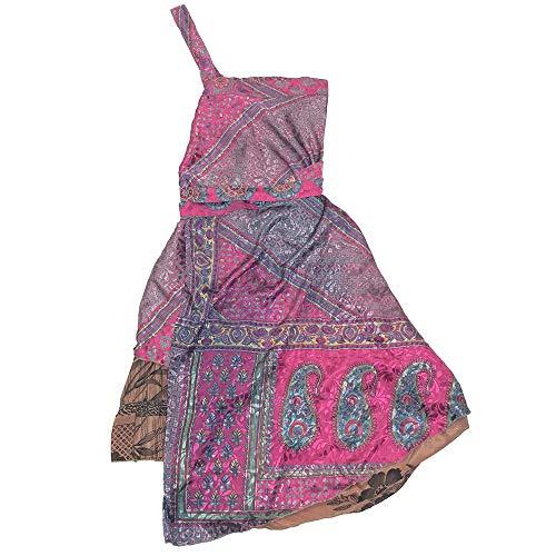 Darn Good Yarn Recycled Indian Sari Silk Wrap Skirt for Women - Eco Friendly Skirt (Regular (4-12), Mini Skirt)