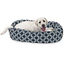 40 inch Navy Blue Links Sherpa Bagel Dog Bed