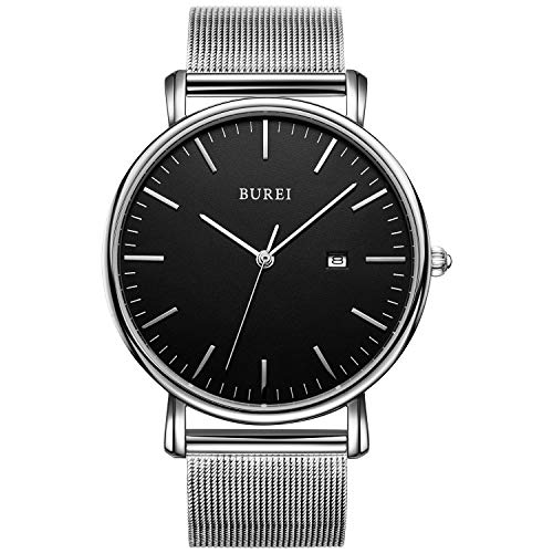 (BUREI Men's Fashion Minimalist Wrist Watch Analog Black Date with Silver Stainless Steel Mesh Band (Black Silver))