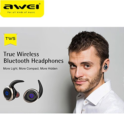 Awei T1 Single/Pairs Ture Wireless Get Rid Of Wire Binding earbuds, One Button Operation Bluetooth V4.2 Waterproof IPX4 Sport Headphones for Running Gym Exercise Hands-free Calling for iphone7(Gold) by AWEI (Image #3)