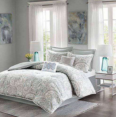 Hemau Premium New Soft - Kashmir Comforter Set - 8 Piece - Paisley Pattern - Blue, Grey, Green - California King - Comforter, 2 Sha, 1 Bedskirt, 2 Euro Sha, 2 Décorative Pillows | Style 503195232