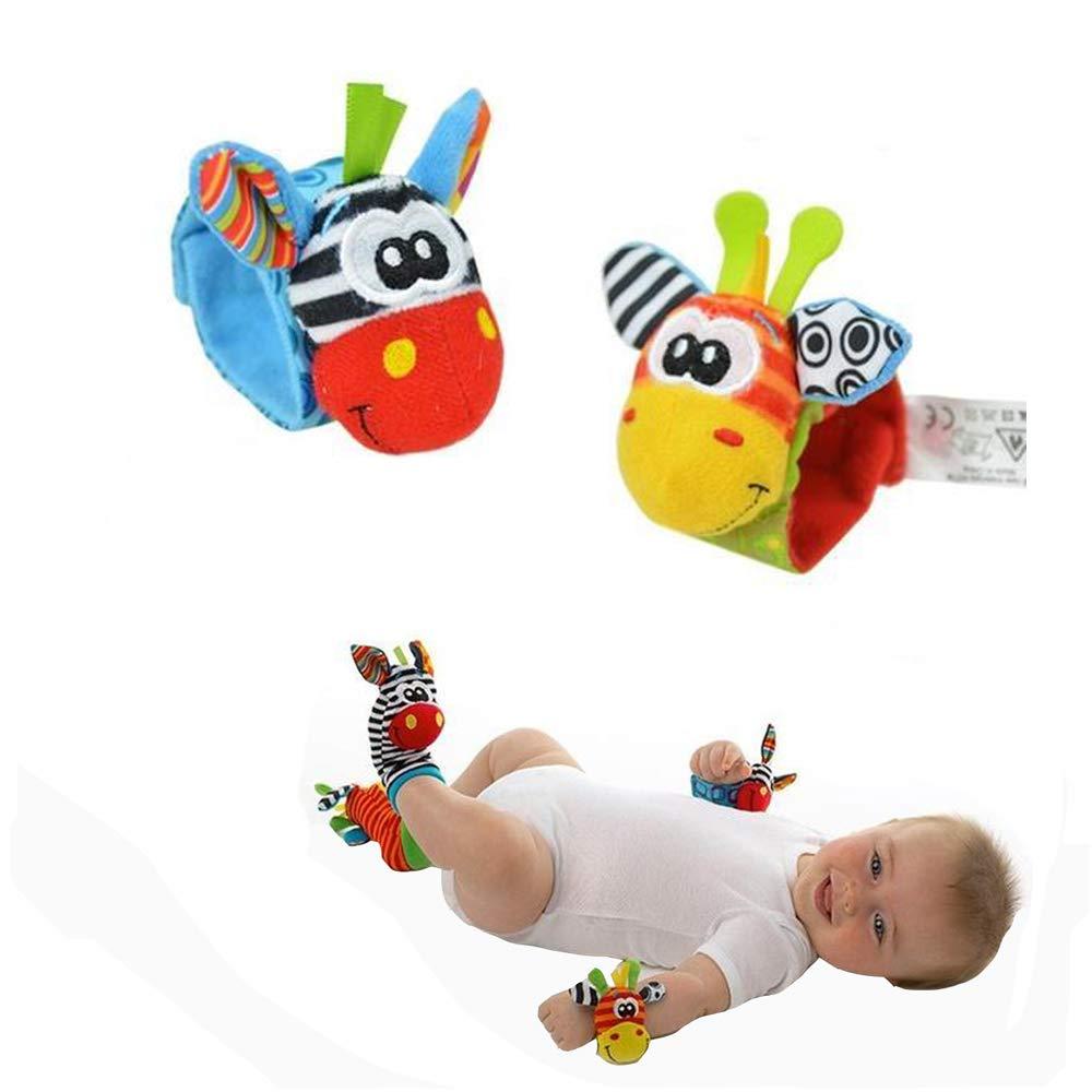 Unetox 赤ちゃん用ラトル 赤ちゃん用手首用ラトルとフットファインダーソックス おもちゃセット 男の子と女の子の初めての知育玩具 2組 (手首用ラトル+ソックラトル)   B07KC18R32