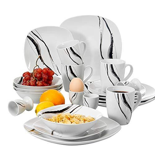 (VEWEET 20-Piece Porcelain Dinnerware Set Line Patterns Kitchen Plate Sets with Dinner Plate, Dessert Plate, Bowl, Mug, Egg Cup, Service for 4 (TERESA Series))