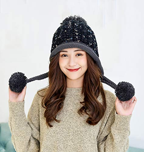 550d46855fa1a HUAMULAN Women Winter Peruvian Beanie Hat Ski Cap Fleece Lined Ear Flaps  Dual Layered Pompoms