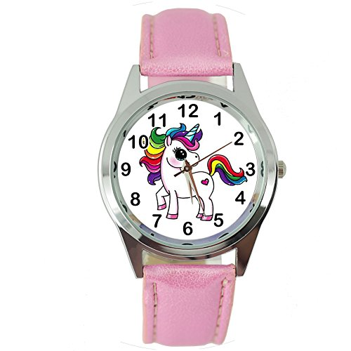 TAPORT Unicorn Pink Leather Band Quartz Watch E2+ Spare Battery + Gift Bag