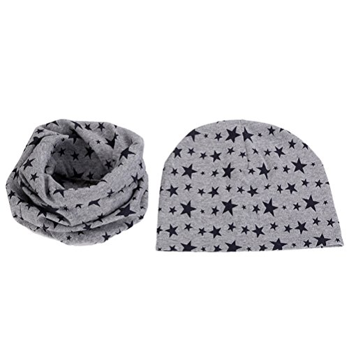 Zhuhaitf Winter Unisex Child Warm 2 piece Sets Star Pattern Beanie Hat+Bib Scarf