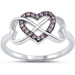 Infinity Knot Heart Pink CZ Promise Ring New 925 Sterling Silver Band Valentine's Day gift