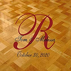 "Dance Floor Decal for Wedding Personalized with Bride's and Groom's Name with Large Monogram and Date 35"" X 36"" -Custom Colors- By Katazoom"