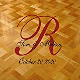 Dance Floor Decal for Wedding Personalized with Bride's and Groom's Name with Large Monogram and Date 35'' X 36'' -Custom Colors- By Katazoom