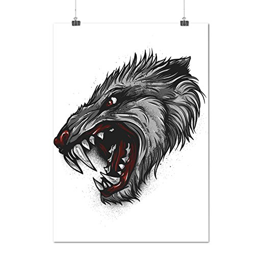 Lion Bloody Costume (Angry Devil Beast Horror Lion Animal Matte/Glossy Poster A2 (60cm x 42cm) |)