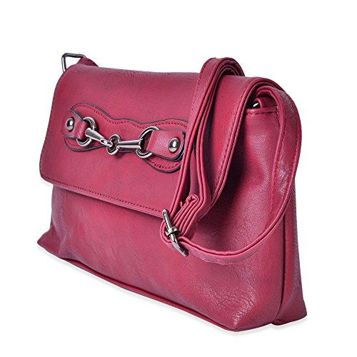 Bag Horsebit with Design Shoulder Adjustable Buckle Strap Red Crossbody zztgwq