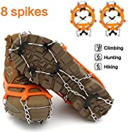 samyki Ice Cleats Crampons, Ice Grips Ice Grippers for Women/Men, Anti Slip Traction Cleats 8/19 Spikes, Durable Silicone Sp