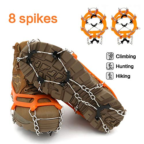 samyki Ice Cleats Crampons, Anti Slip 8 Teeth Manganese Steel Spikes Ice Grips Ice Grippers for Women/Men, Durable Silicone Spike Shoes Traction Cleats, Ice Crampons Snow Grips for Hiking on Ice/Snow