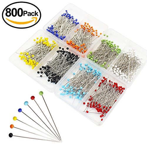 Qulable 800pcs Ball Head Pins Sewing Quilting Extra Glass Head Dressmaker Pins for Dressmaking Jewelry Components Flower Decoration With Transparent Cases, 8 Colors