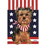 Cheap Yorkshire Terrier Patriotic Breed Garden Flag