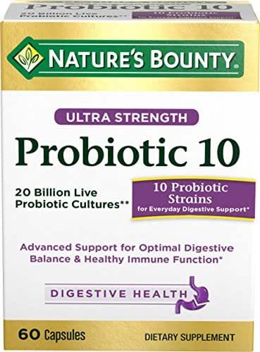 Nature's Bounty Probiotics Pills Ultra Strength Dietary Supplement, Supports Digestive and Intestinal Health, 60 Count (Pack of 1)
