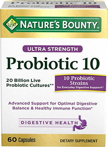 10 Probiotic (Nature's Bounty Ultra Probiotic 10, 60 Capsules, Dietary Supplement for Digestive Health(1), Supports Intestinal Health(1))