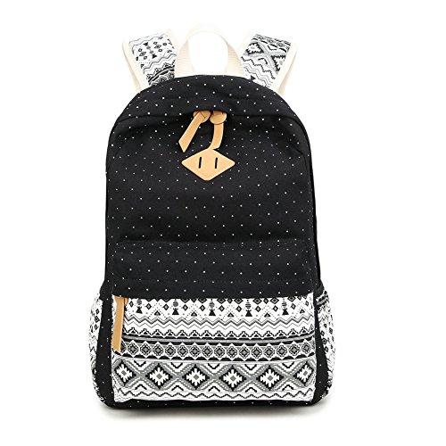"""Bolsa de la escuela para las niñas adolescentes FYHAP Mochila de encaje lindo Lace Mochila Casual lona impermeable Mochila para portátil de 14 """"-15,6"""" (32 x 14 x 42 cm) negro"""