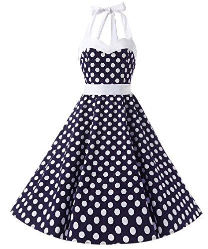 Donne Polka Al Vestito White Dresstells Blue 1950 Allacciatura Dot Cocktail Con Audrey Dots Hepbun Di Vintage Collo Bfqgdfv
