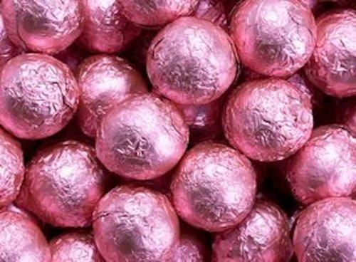 Bright Pink Foiled Milk Chocolate Balls 5LB Bag by The Nutty Fruit House by The Nutty Fruit House