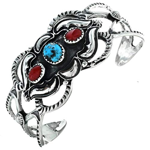 Navajo Turquoise Coral Ladies Bracelet Old Pawn Style Cuff 0189 ()