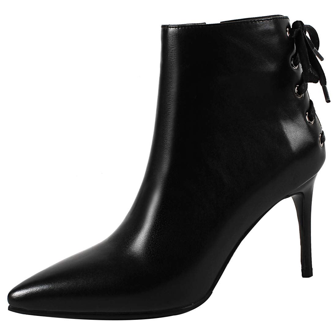 Black Eithy Women's Shaddr Stiletto Ankle-high Zipper Leather Boots