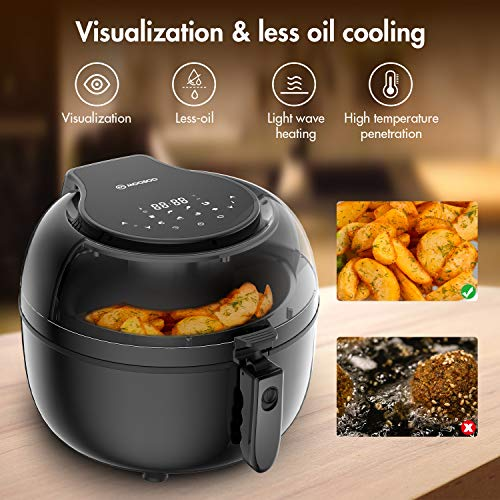 MOOSOO Air Fryer, 7QT Air Fryer Oven for Oil-Less Air Frying Cooking, 8-in-1 Air Fryer with Digital LED Touchscreen & Visualized Window, ETL Listed, Automatic Shutoff and Overheat Protection (100 Recipes)