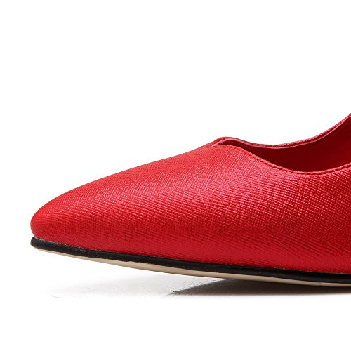 AmoonyFashion Womens Pull On Pointed Closed Toe Spikes Stilettos Pumps-Shoes Red AhVc3N