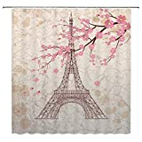 Eiffel Tower Shower Curtain Landscape Shower Curtain Decor Pink Flowers Eiffel Tower White Gray Decoration Simple Waterproof Polyester Fabric Home Bathroom Accessories 70x70Inches