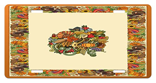 Ambesonne Thanksgiving License Plate, Pumpkin Wreath Bow Cranberry Leaves Ivy Corn Basket Traditional Pattern Fall, High Gloss Aluminum Novelty Plate, 5.88