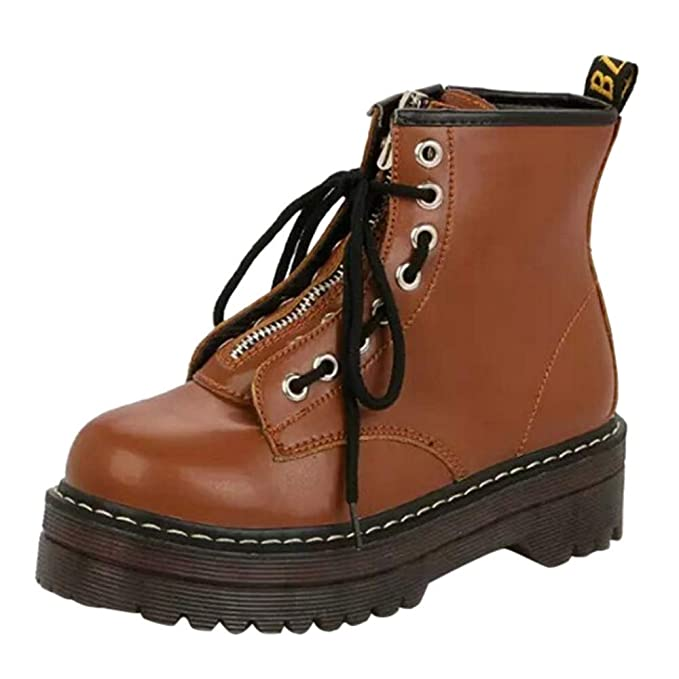 Botas de Mujer, Boton Grueso, Zapatos Redondos para Mujeres, con un