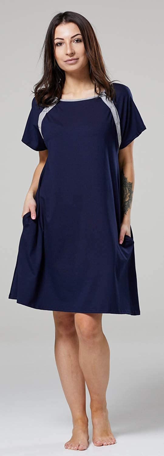 HAPPY MAMA Womens Labor Delivery Hospital Gown Breastfeeding Maternity 1028