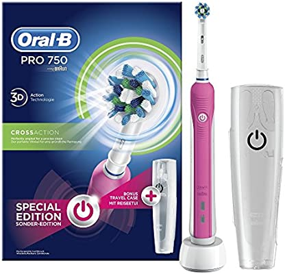 Oral-B PRO 750 CrossAction - Pack con cepillo de dientes eléctrico recargable