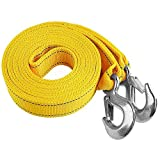 Selectec 6 Tons Car Tow Cable Towing Strap Rope with 2 Hooks Heavy Duty 20FT 13,000LB