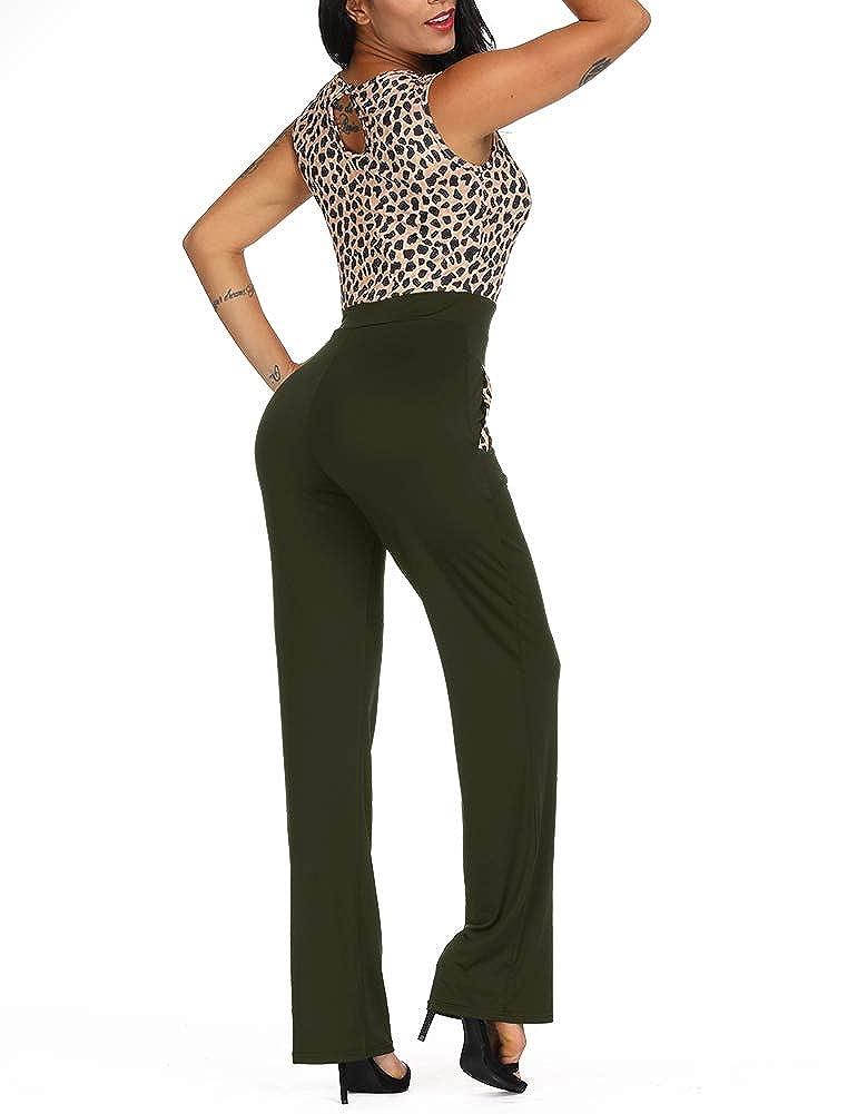 8fbd2a49403b Amazon.com  Zaoqee Women s Sleeveless Tank Leopard Print Jumpsuit High  Waist Romper with Pockets  Clothing
