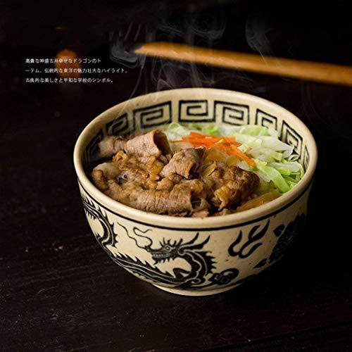 XXJ-Bowls Japanese Style Ceramic Big Ramen Noodle Fruit Salad Bowl Rice Bowl Tableware Dragon And Phoenix Bowl (Size : - Bowl Phoenix Dragon