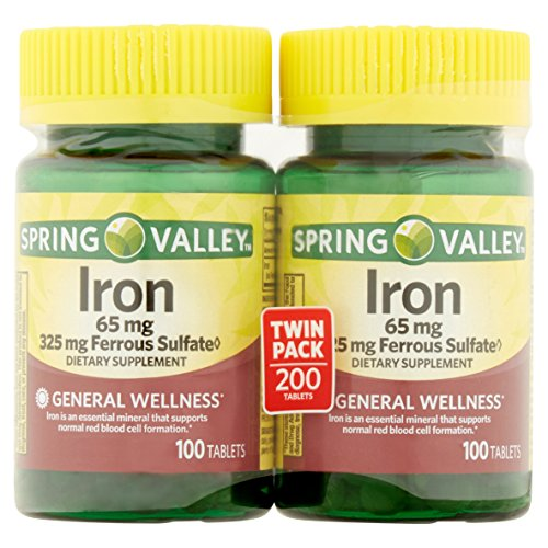 65mg Tabs - Spring Valley Iron 65 mg, 100 Tablets (2 Pack)